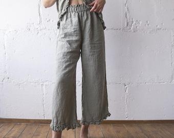 LINEN PANT RUFFLE , linen pants , linen clothing , linen woman clothing , linen pant s m l xl xxl oversize , 100% linen loose pants Len.Ok