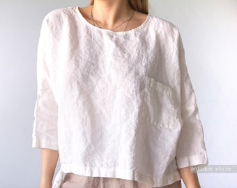 White linen blouse with long sleeves  Pure Natural Organic Linen 100/% European Flax