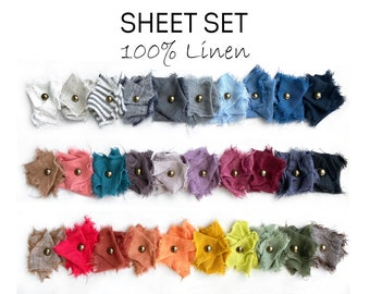 Bed SHEET SET, linen shabby chic bedding / linen sheet set / bedding set queen king 100% linen / linen bedding sheet set/ farmhouse decor