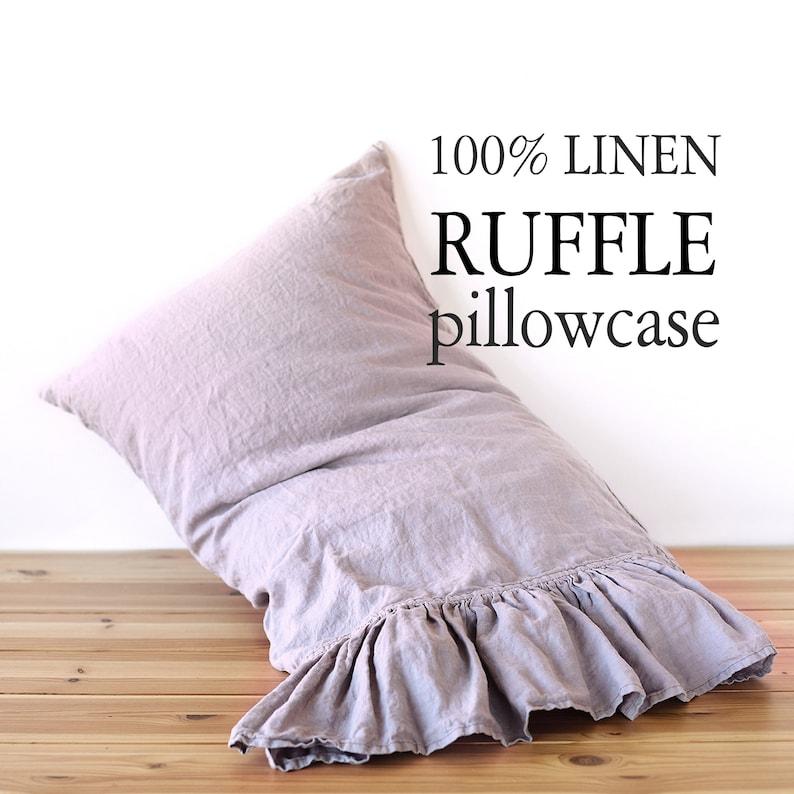 Pillow case color Black 100/% Linen RUFFLE PILLOW SHAM Cover Queen King