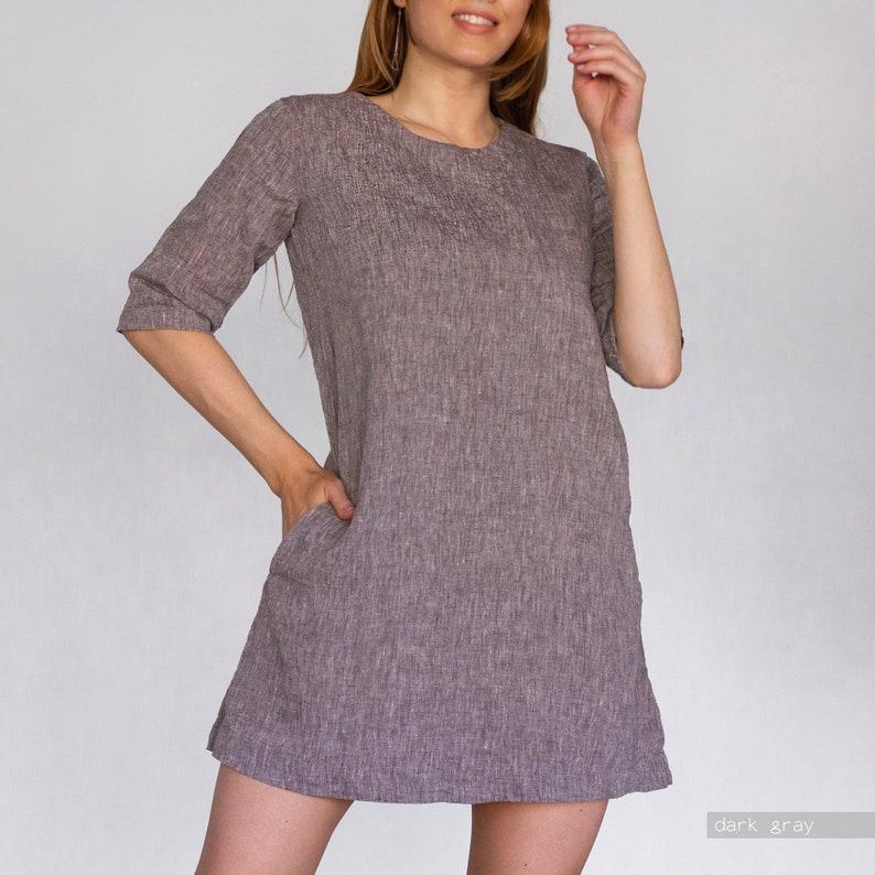 LINEN DRESS summer dress linen tunic dress linen tunic mini plus size dress linen summer dress linen clothing white linen dress