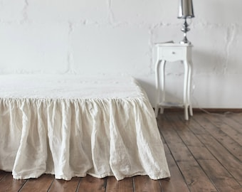 LINEN SKIRT bed skirt / Linen bedskirt / dust ruffle drop handmade of 100% linen / bed ruffle linen bad valance queen ruffle bed skirt
