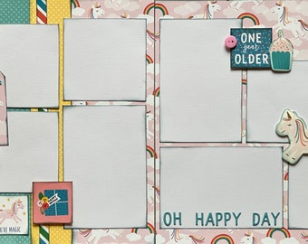 Time to Celebrate - Oh Happy Day! 2 Page Scrapbooking layout KIt or Premade Scrapbooking Pages