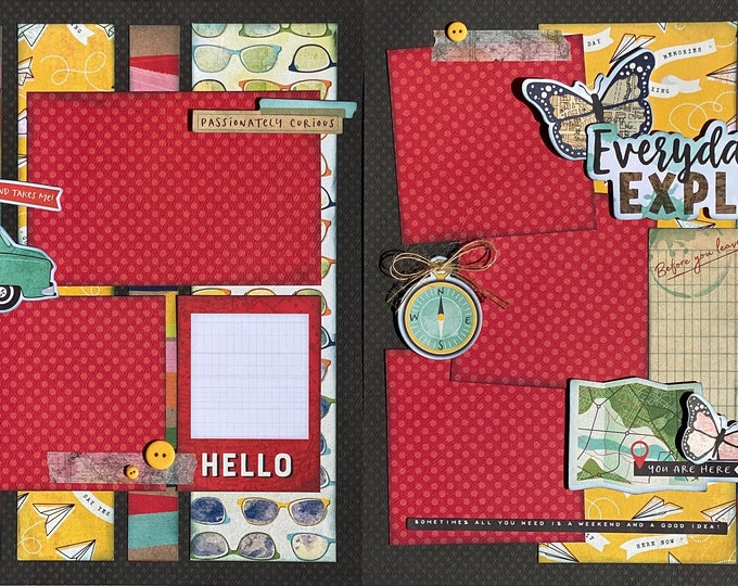 Featured listing image: Everyday Explorer 2 page Scrapbooking layout kit or Premade Scrapbooking Pages