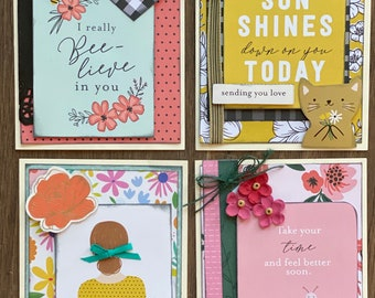I've Got Your Back - Encouragement Themed  Card Kit Set   - 4 pack DIY Card Kit