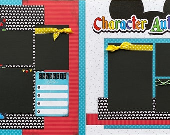 Character Autographs - Disney Inspired 2 page Scrapbooking layout Kit or Premade Scrapbooking Pages, Disney Inspired diy craft kit