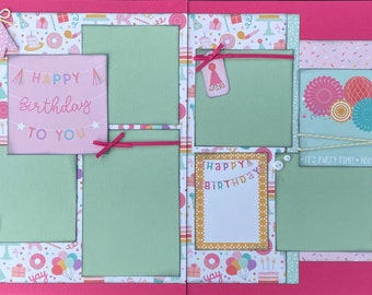 Happy Birthday To You - It's Party Time 2 Page Scrapbooking layout KIt or Premade Scrapbooking Pages Birthday diy craft kit