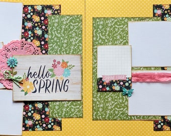 Hello Spring - Spring Fever 2 Page Scrapbooking Layout Kit or Premade Scrapbooking Pages