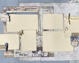 Here Comes the Bride Wedding 2 Page Scrapbooking Layout Kit or Premade Scrapbooking Pages wedding diy craft kit