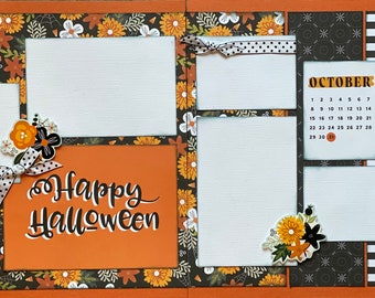 Happy Halloween 2 Page Scrapbooking Layout Kit or Premade Scrapbooking Pages halloween DIY craft kit
