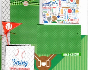 Swing for the Fences - BASEBALL, 2 Page Scrapbooking Layout Kit or Premade Pages
