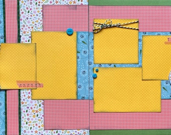 Hello Sunshine - Make a Wish Summer Themed Scrapbooking Layout Kit DIY or Premade Scrapbooking Pages summer diy craft kit summer craft