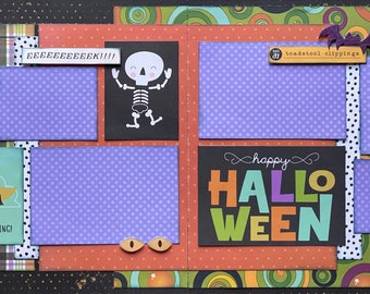 Happy Haunting - Happy Halloween  2 Page Scrapbooking Layout Kit or Premade Scrapbooking Pages