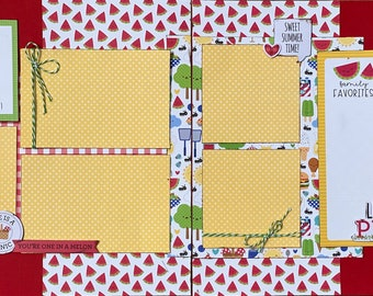 Sweet Summer - Life is a Picnic 2 Page Summer Scrapbooking Layout Kit DIY or Premade Scrapbooking Pages summer picnic diy craft