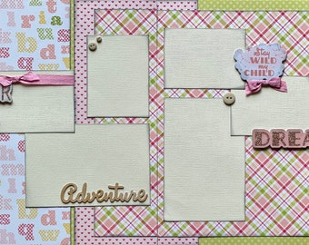 Stay Wild My Child, Wander, Adventure Girl  2 page Scrapbooking Layout Kit or Pre Made Pages Girl Scrapbooking DIY Craft Kit