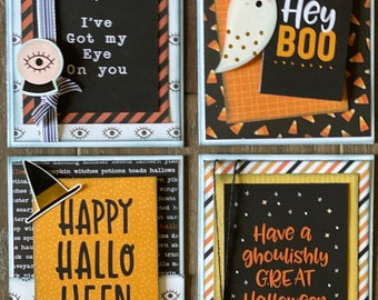 Happy Halloween Themed Card Kit Set   - 4 pack DIY Card Kit Halloween Card Craft DIY