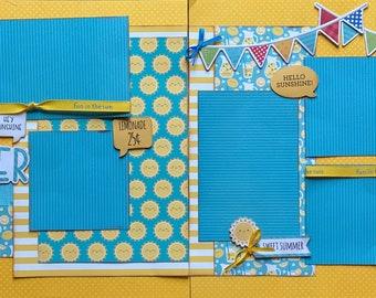 Summer - Hey Sunshine Scrapbooking Layout Kit DIY or Premade Scrapbooking Pages DIY Summer scrapbook
