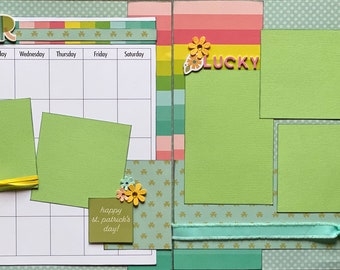 March Calendar Kit - 2 Page Scrapbooking Layout Kit