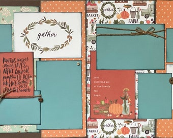 Home Sweet Home - Gather Happy Fall Y'All 2 Page Scrapbooking Layout Kit or Pre Made Scrapbooking Pages fall diy craft kit