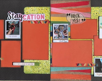 Staycation P.S. Don't Forget to Have Fun 2 page Scrapbooking layout kit or Premade Scrapbooking Pages