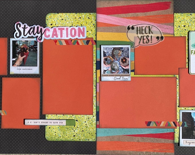 Featured listing image: Staycation P.S. Don't Forget to Have Fun 2 page Scrapbooking layout kit or Premade Scrapbooking Pages