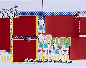 Kiss the Cook - Family BBQ Summer 2 Page Summer Scrapbooking Layout Kit DIY or Premade Scrapbooking Pages