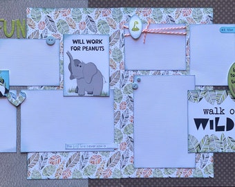 Will Work for Peanuts - Walk on the Wild Side ZOO 2 Page Scrapbooking Layout Kit or Premade Pages Zoo scrapbook diy craft kit Zoo craft kit