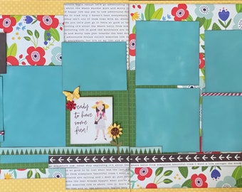 Relax, Refresh, Recharge - Girls Trip 2 page Scrapbooking layout kit or Premade Scrapbooking Pages, DIY travel craft kit