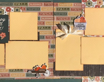 Happy Fall Y'All 2 Page Scrapbooking Layout Kit or Pre Made Scrapbooking Pages