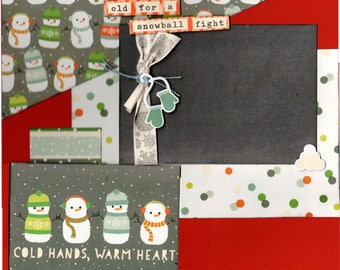 You're Never too Old for a Snowball Fight - Cold Hands, Warm   2 Page Winter Scrapbooking Layout Kit