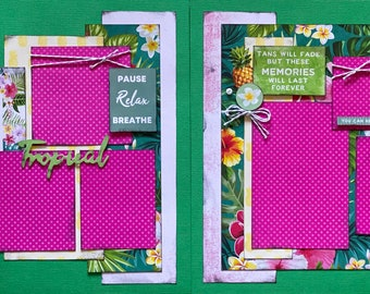 Tans Will Fade But These Memories Will Last A Lifetime,  2 page Scrapbooking layout kit or Premade Scrapbooking Pages, DIY travel craft kit