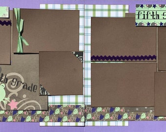 5th Grade - Frog 2 Page Scrapbooking Layout Kit sale Scrapbooking DIY Page kit school diy craft kit