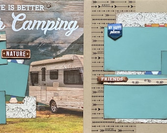 Life is Better Trailer Camping 2 page Scrapbooking Layout Kit or Premade Scrapbooking Pages camp diy craft kit hiking  craft