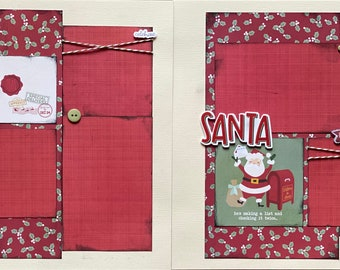 Santa, He's Making a List  2 Page Scrapbooking Layout Kit or Premade Scrapbooking Pages Letters to santa diy craft kit
