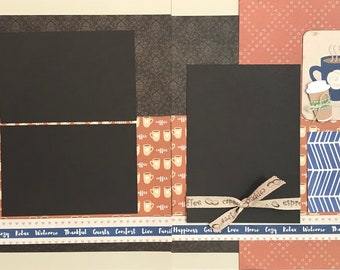 Coffee Makes My World Go 'Round 2 Page Scrapbooking Layout Kit or Premade Scrapbooking Pages