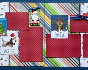 May Your Days Be Furry and Bright - Happy Pawlidays  Dog Scrapbooking 2 Page Scrapbooking Layout Kit or Premade  Pages Dog diy craft kit