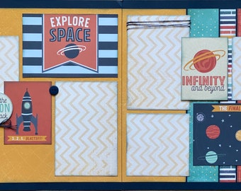 Explore Space - Infinity and Beyond DIY 2 Page Scrapbooking Layout Kit or Premade Scrapbooking Pages DIY Space Craft