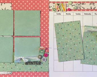 January Calendar Kit - 2 Page Scrapbooking Layout Kit