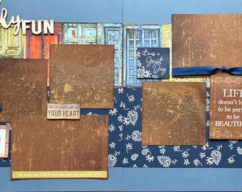 Family Fun - Life Doesn't Have to Be Perfect to be Beautiful 2 Page Scrapbooking Layout Kit or Premade Scrapbooking Pages