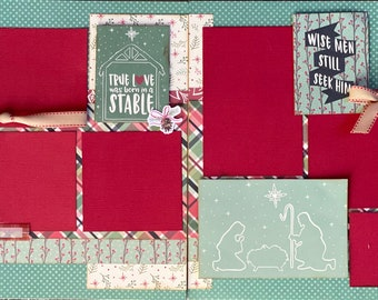 True Love Was Born in a Stable - Wise Men Still Seek Him 2 Page Scrapbooking layout Kit or Premade Scrapbooking Pages