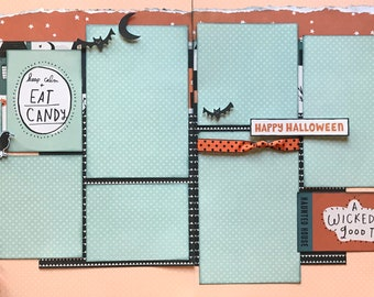 Keep Calm and Eat Candy- A Wicked Good Time 2 Page Scrapbooking Layout Kit or Premade Scrapbooking Pages