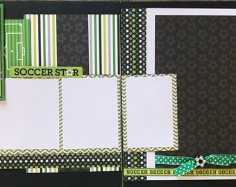Eat, Sleep and Play Soccer, 2 Page Scrapbooking Layout Kit or Premade Scrapbooking Pages