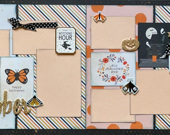 October - Hello My Pretty 2 Page Scrapbooking Layout Kit or Premade Scrapbooking Pages