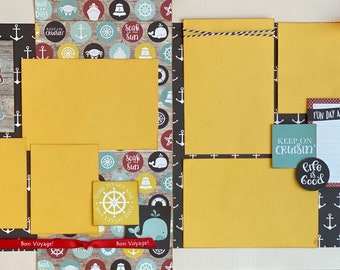 Decks, Docks and Flip Flops - Keep On Crusin'  2 page scrapbooking layout Kit or Premade Scrapbooking Pages