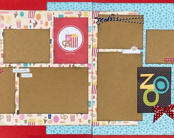 Zoo Snack Time Themed 2 Page Scrapbooking Layout Kit or Premade Pages Zoo scrapbook diy craft kit Zoo craft kit