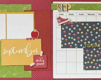September Calendar Kit - 2 Page Scrapbooking Layout Kit DIY Calendar craft kit craft kits diy Calendar 2020 September 2020