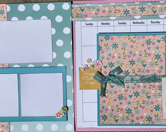 May Calendar Kit - 2 Page Scrapbooking Layout Kit DIY Calendar craft kit craft kits diy