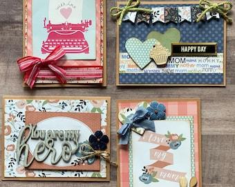 Mother's Day  - Feminine Themed Greeting Card DIY Kit Set #1 - 4 pack