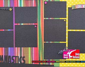 Gymnastics - Never Doubt Only Believe 2 Page Scrapbooking Layout Kit or Premade Scrapbooking Pages
