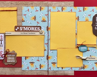 Camp Rules - S'mores  2 page Scrapbooking Layout Kit or Premade Scrapbooking Pages camp diy craft kit hike craft, S'mores Craft kit, summer